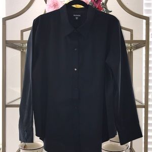 Work wear Basic Black Button down Blouse